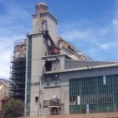 Decommissioning of scaffolding of a factory on Augusta Power Stations