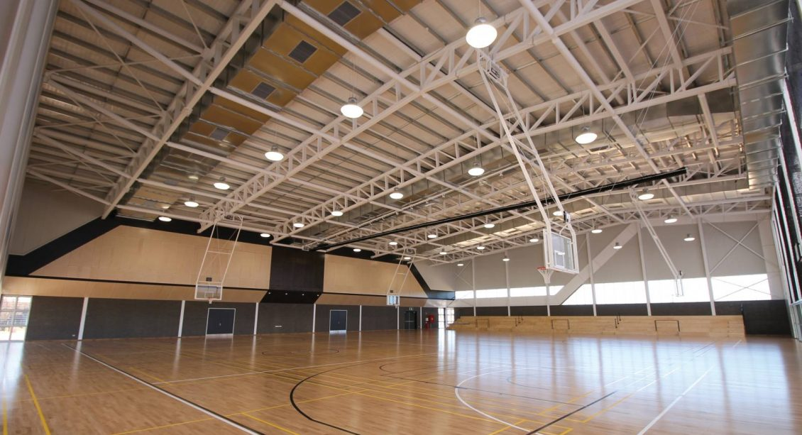 Inside the new sports gymnasium at St Marks College