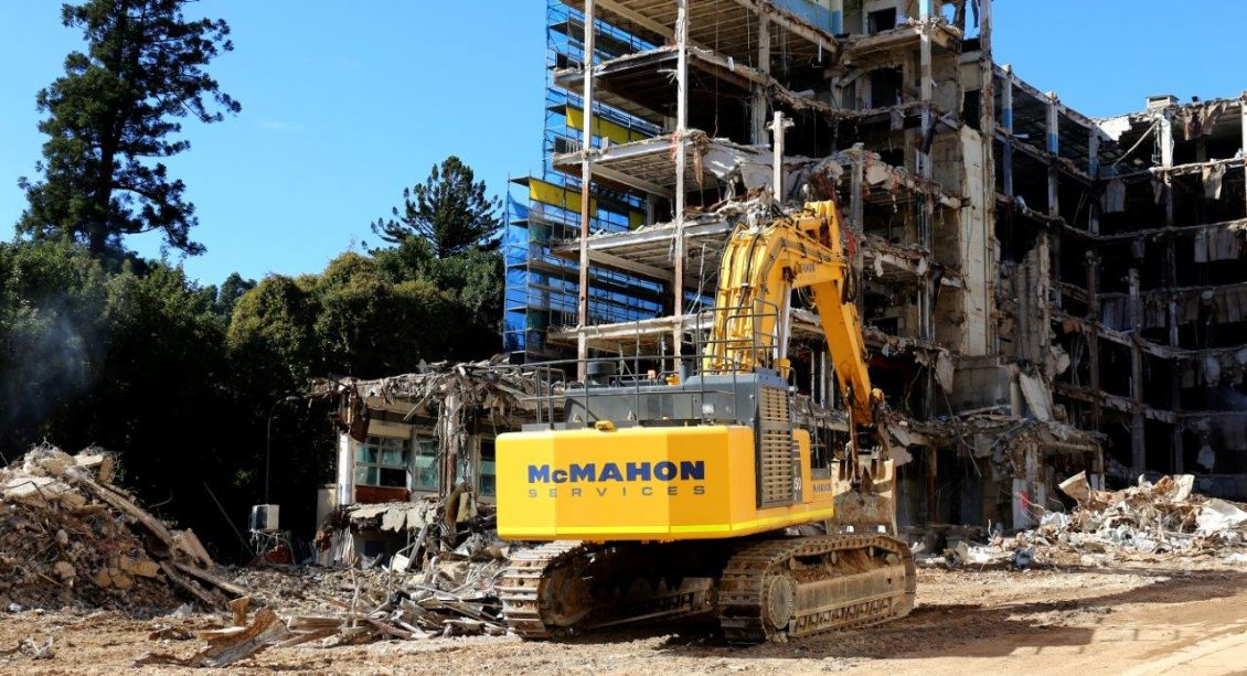 McMahon Services Excavator at Lot Fourteen Demolition Site of the Old Royal Adelaide Hospital