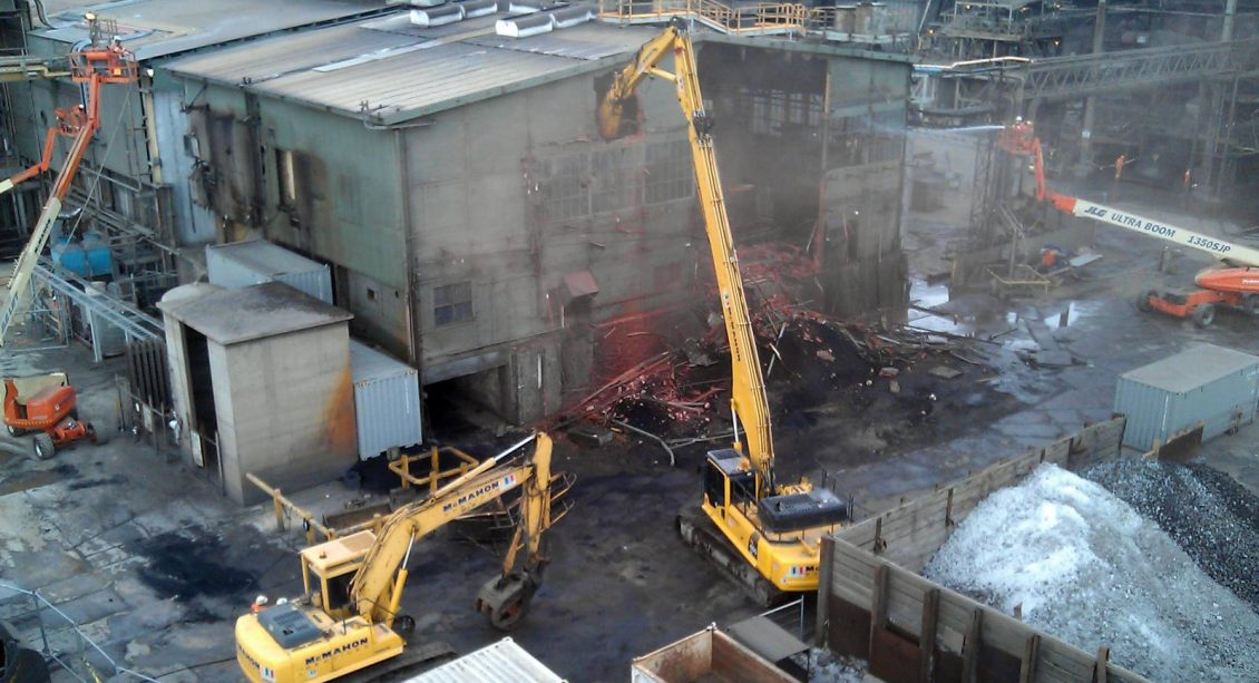 Three Excavators performing Demolition works at Nyrstar's Port Pirie Lead Smelter